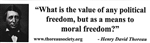 """A means to moral freedom"" bumper sticker with Thoreau quote"