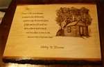 """I Went to the Woods"" and Thoreau Walden House Hand-Burned onto Wood Plaque"