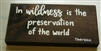"""In Wildness"" Thoreau Quote on Hand-Painted Wood Sign - Breezy Knoll Boards"