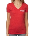 Walden Pond / Different Drummer Women's V-Neck T-shirt with Thoreau Quote