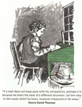 "Thoreau at Desk ""Give me truth"" Note Card - Marianne Orlando"