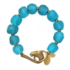 Cerulean Recycled Glass Horse Bracelet